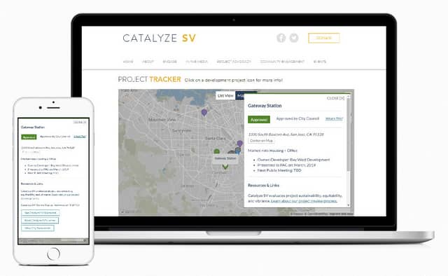 Responsive screenshots of Catalyze SV project tracker map on laptop and mobile