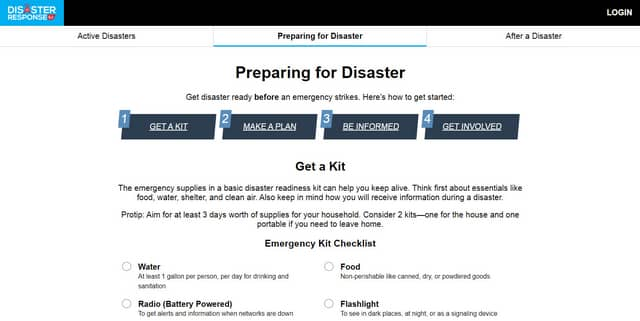 Screenshot of the Disaster Response SJ web app