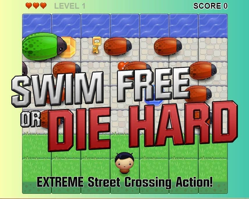 Screenshot of my HTML5/JS based frogger-style game Swim Free or Die Hard