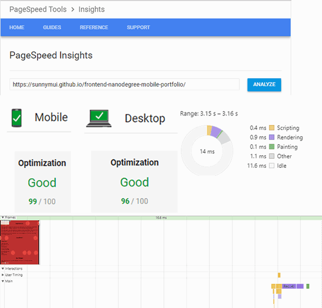 Screenshot of Performance profiles and page speed scores